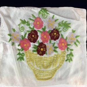 Vintage 1940s Embroidered Pillow Case in one copy